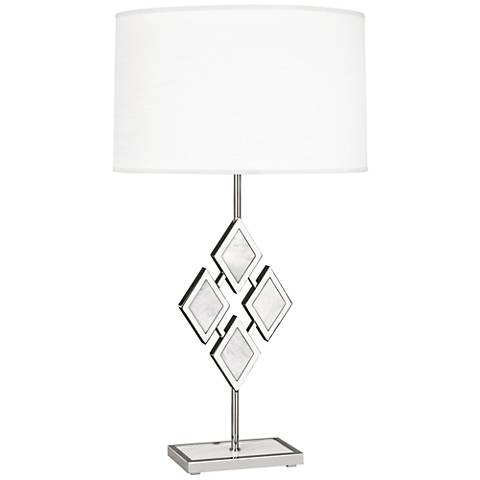 Edward Nickel and White Marble with White Shade Table Lamp
