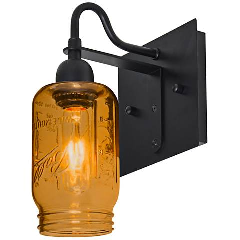 "Besa Milo 10 3/4""H Black Amber Wall Sconce"