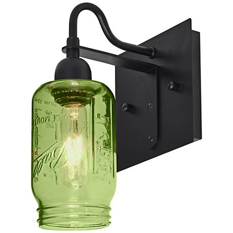 "Besa Milo 10 3/4""H Black Green Wall Sconce"