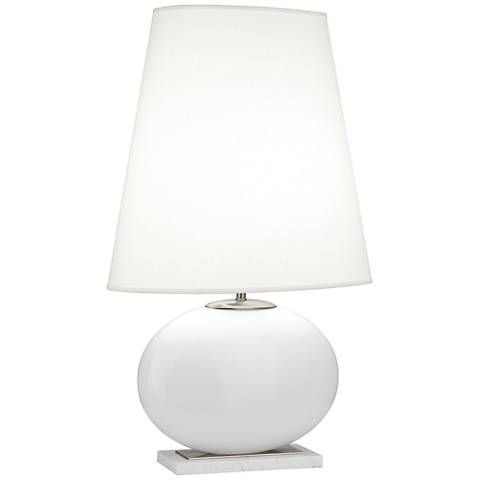 Robert Abbey Raquel White and Nickel Tall Oval Table Lamp