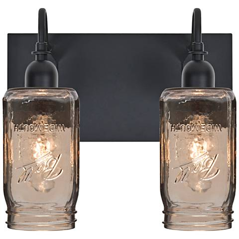 "Besa Milo 10 3/4""H 2-Light Black Smoke Sconce"