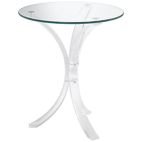 Felicity Glass Top and Clear Acrylic Round Accent Table