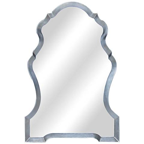 "Fantasia Silver 29""x43"" Wood and Metal Arch Mirror"