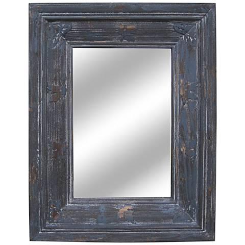"""Crocket Distressed Wood 29""""x35"""" Wall Mirror"""