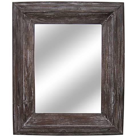 "Bowie Distressed Wood 29""x35"" Rectangular Wall Mirror"