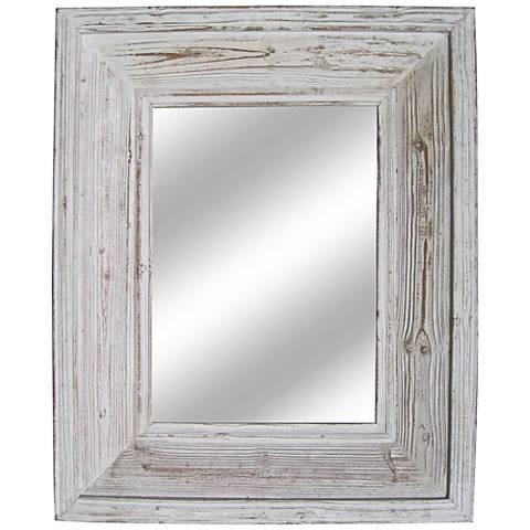 "Beasley Lightwash 28""x34"" Distressed Wood Wall Mirror"
