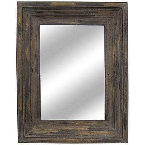 "Aden Distressed Wood 26 1/2""x34 1/2"" Mirror"