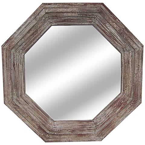 """Paxton Distressed Wood 32"""" Wide Octagon Wall Mirror"""