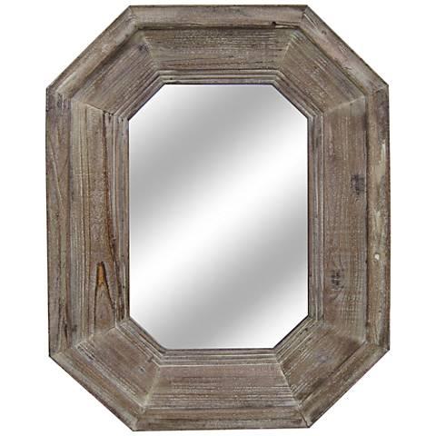 "Sawyer Distressed Wood 28""x36 1/2"" Octagon Wall Mirror"