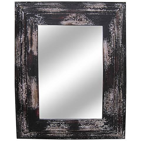 "Paint Distressed Wood 28""x35 1/2"" Wall Mirror"