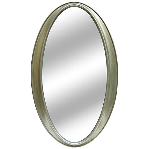 "Tegan Silver Leaf 24""x40"" Decorative Oval Mirror"