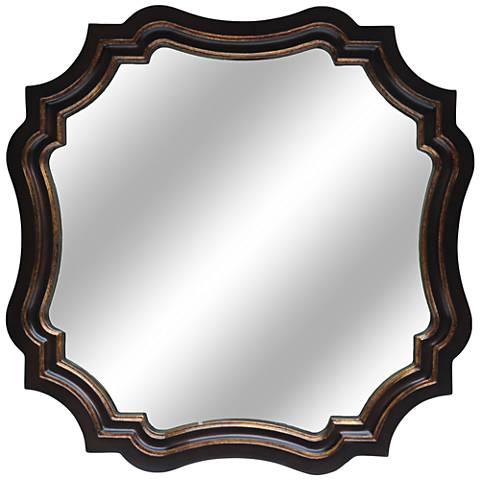 "Peace Antiqued Bronze 30""x30"" Decorative Wall Mirror"