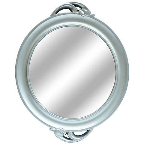 "Catalina Antiqued Silver 26""x32"" Round Mirror"