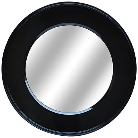 """Bryn Glossy Black 32"""" Round Decorative Wall Mirror"""