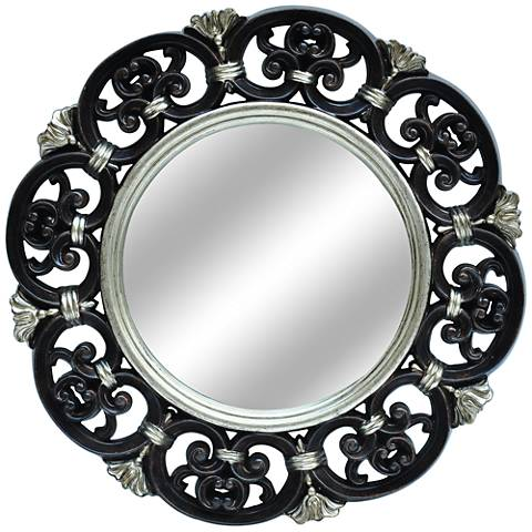 "Juno Antiqued Bronze and Silver 25"" Round Wall Mirror"