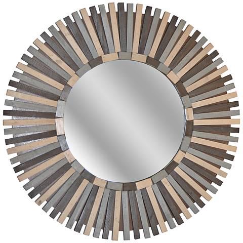 "Illusion Slated Wood 31 1/2"" Round Wall Mirror"