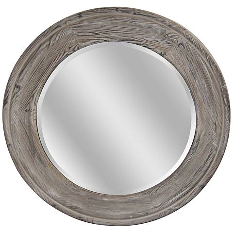 """Boone Distressed Wood 31"""" Round Beveled Wall Mirror"""