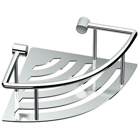 "Gatco Elegant Chrome 8"" Wide Corner Shelf with Rails"