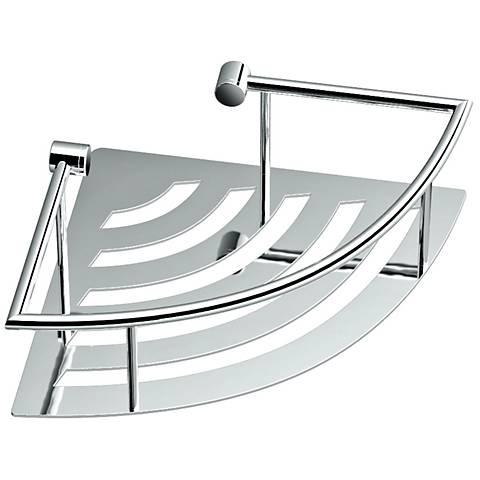 "Gatco Elegant Chrome 11"" Wide Corner Shelf with Rails"