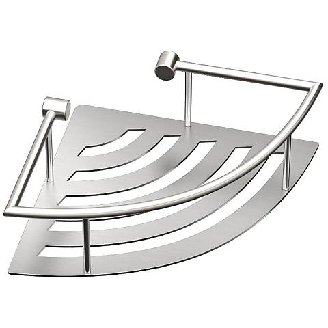 "Gatco Elegant Brushed 11"" Wide Corner Shelf with Rails"