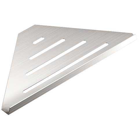 "Gatco Elegant Brushed 13 1/4"" Wide Corner Shelf"