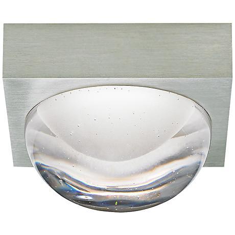 "LBL Sphere 4 3/4""W Satin Nickel Cast Clear LED Ceiling Light"