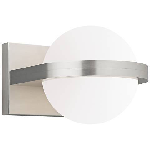 "LBL Capture 5"" High Satin Nickel and Opal LED Wall Sconce"