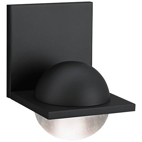 """LBL Sphere 6 3/4""""H Rubberized Black Clear LED Wall Sconce"""
