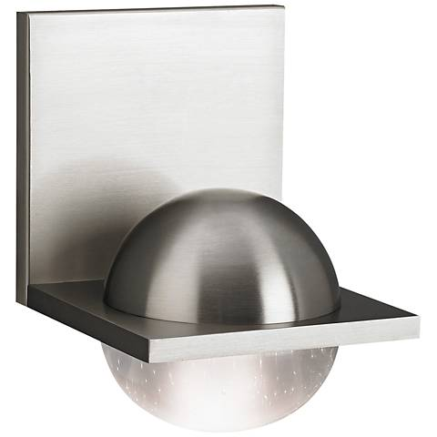 "LBL Sphere 6 3/4""H Satin Nickel Cast Clear LED Wall Sconce"