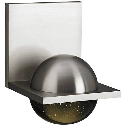"LBL Sphere 6 3/4"" High Satin Nickel Smoke LED Wall Sconce"