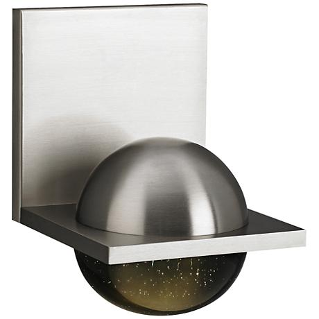 "LBL Sphere 6 3/4"" High Satin Nickel Smoke LED Wall Sconce"