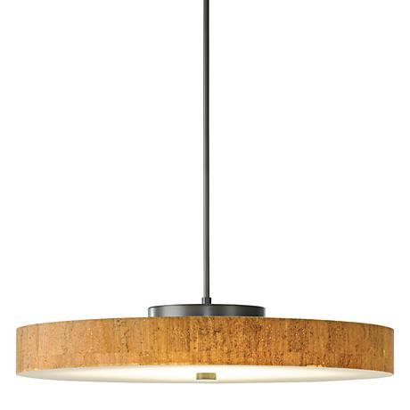 "Hubbardton Forge Disq LED 23""W Cork-Steel Pendant Light"