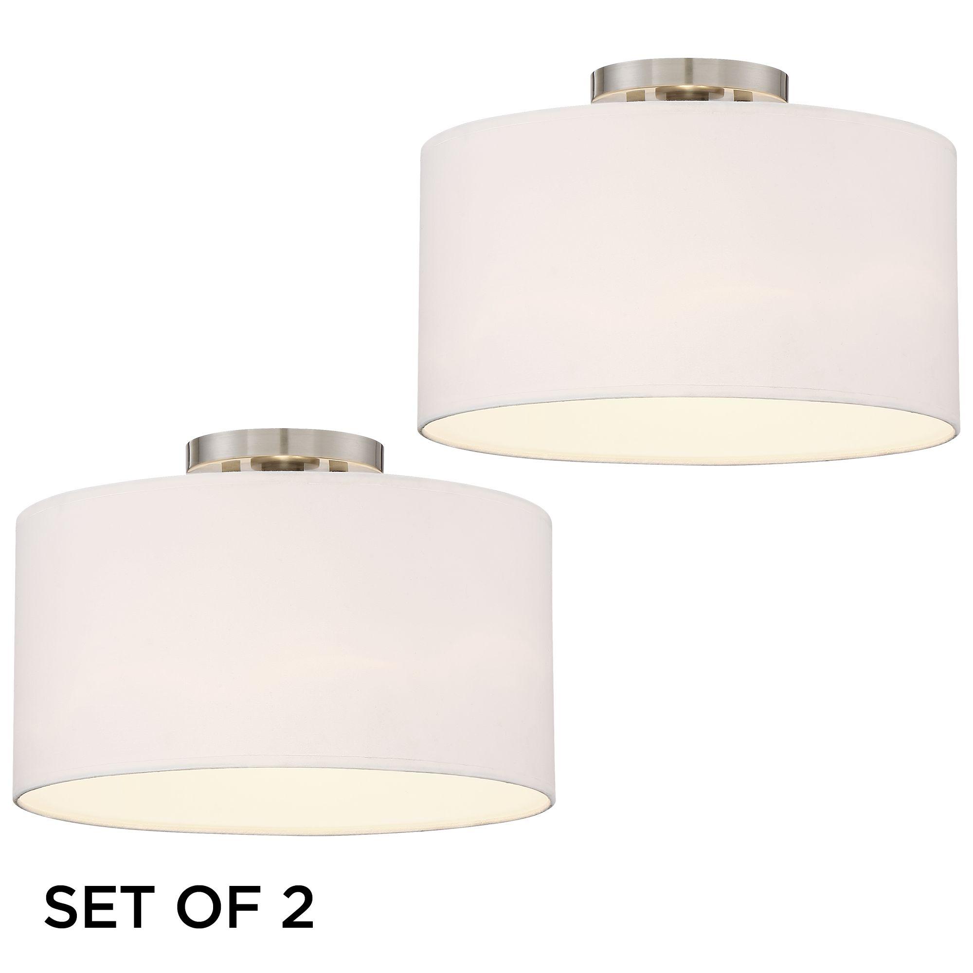 Set of 2 Adams Brushed Nickel White Drum Shade Ceiling Light