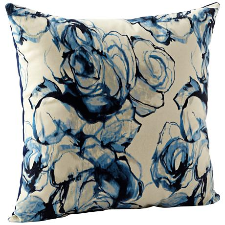 "Monet Blue and White 22"" Square Decorative Pillow"