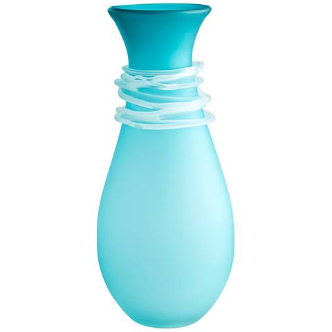 "Cyan Design Alpine Blue 15"" High Small Glass Vase"