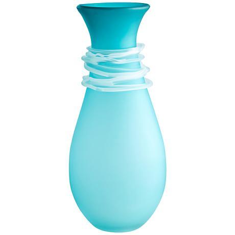 "Cyan Design Alpine Blue 15"" High Small Glass Vase"