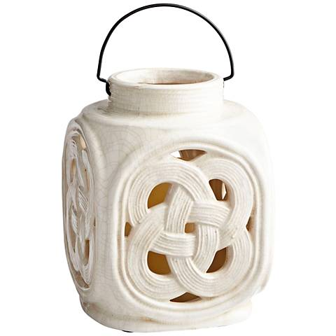 "Cyan Design Lattice White Crackle 11"" High Small Ceramic Jar"