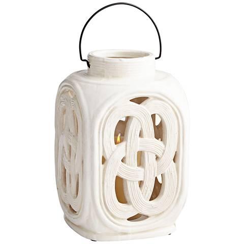 "Cyan Design Lattice White Crackle 13 3/4""H Large Ceramic Jar"