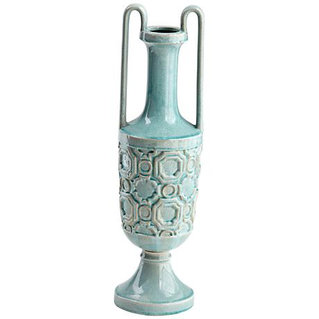 "Cyan Design August Sky Teal 23 1/2"" High Small Ceramic Vase"