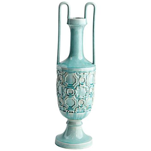 "Cyan Design August Sky Teal 30"" High Large Ceramic Vase"