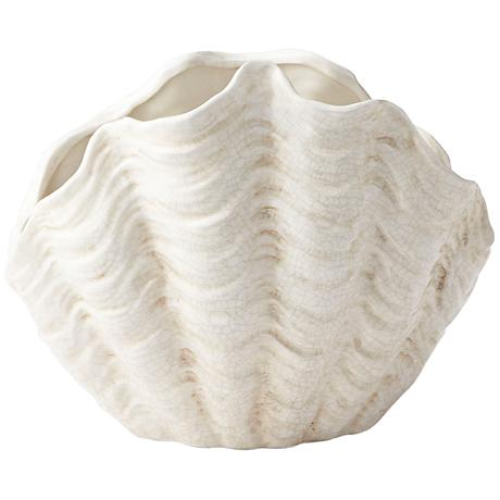 """Michelle My Shell White Crackle 13 3/4"""" Wide Small Planter"""