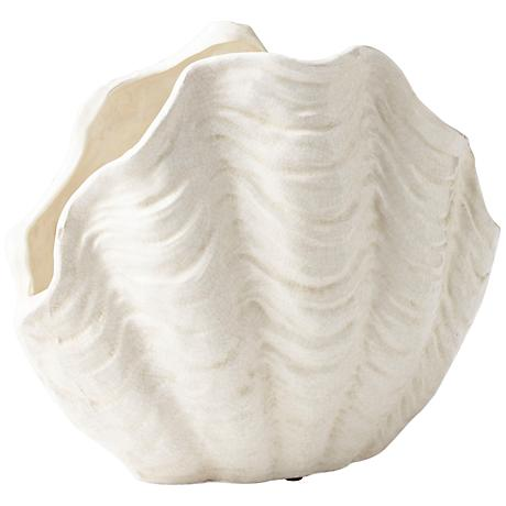 """Michelle My Shell White Crackle 17 1/4"""" Wide Large Planter"""