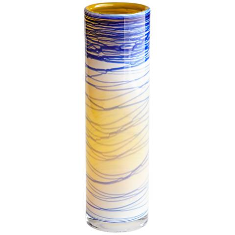 "Cyan Design Electric Wave Yellow 12"" High Small Glass Vase"
