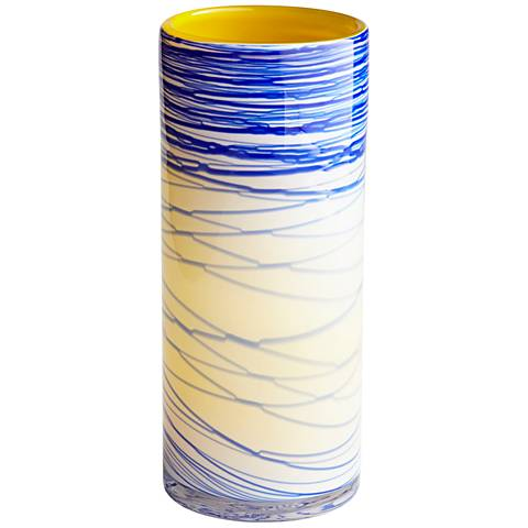"Cyan Design Electric Wave Yellow 13 1/4""H Medium Glass Vase"