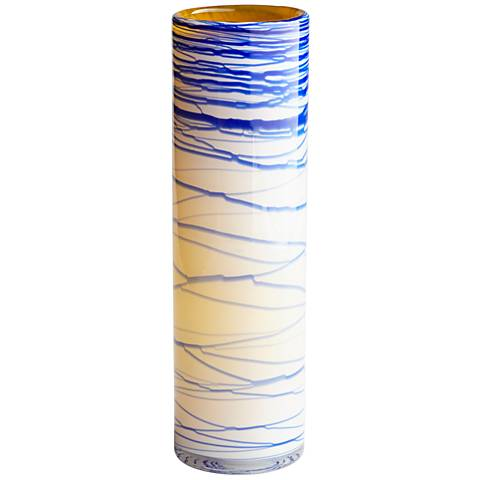 """Cyan Design Electric Wave Yellow 16"""" High Large Glass Vase"""