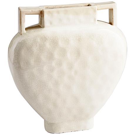 "Evelyn White Crackle 16 1/4"" High Small Ceramic Planter"