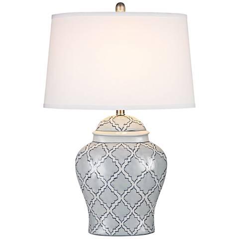 Aragon Blue and White Glaze Ceramic Table Lamp