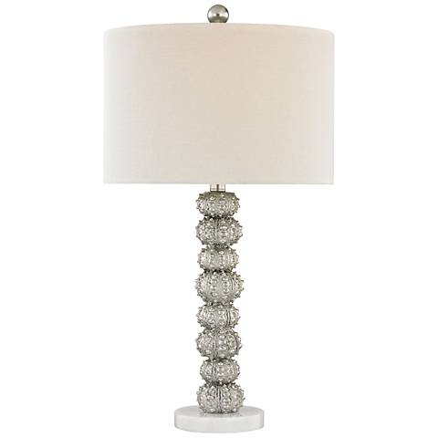 New Caledonia Silver Leaf and White Marble Table Lamp