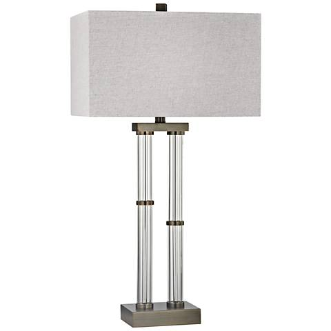 Throughline Dunbrook Bronze and Clear Glass Table Lamp