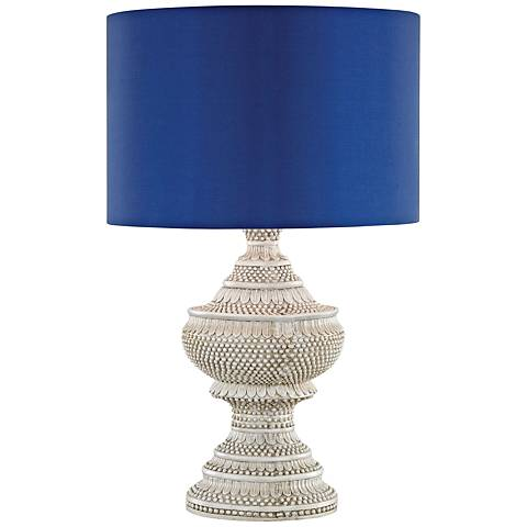 Kokopo Ultramarine Shade Antique White Outdoor Table Lamp